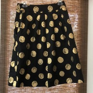 Ann Taylor Factory black skirt with gold dots